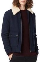 Topman Men's Wool Blend Flight Jacket With Faux Shearling Trim