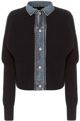 Sacai Denim-trimmed wool sweater