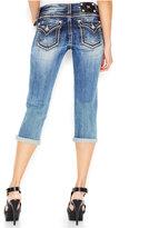 Miss Me Contrast-Stitch Cropped Jeans, Medium Blue Wash