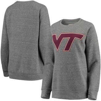 Women's Pressbox Heathered Gray Virginia Tech Hokies Big Team Logo Knobi Fleece Tri-Blend Crew Neck Sweatshirt