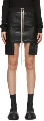 Rick Owens Black Vegan Leather Miniskirt