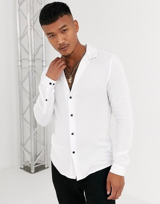 ASOS DESIGN muscle fit viscose shirt in white with low revere collar