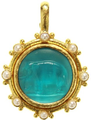 Elizabeth Locke Venetian Glass Intaglio Swimming Pool 'Elephant' 19K Gold Pendant