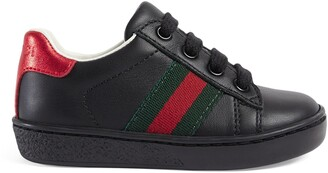 Gucci Toddler leather low-top with Web
