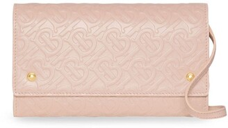 Burberry Monogram Leather Wallet with Detachable Strap