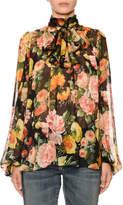 Dolce & Gabbana Scarf-Neck Blouson-Sleeve Floral-Print Silk Chiffon Blouse