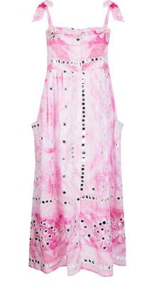 Juliet Dunn Mirror-Detailed Nomad-Print Cotton Midi Dress
