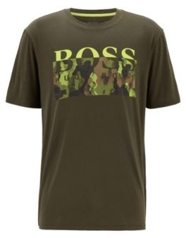 HUGO BOSS Pima Cotton T Shirt With New Season Logo Print - Light Green