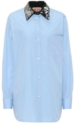Nâ°21 Embellished-collar cotton shirt