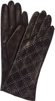 Portolano Women's Black & Cream Quilted Leather Gloves