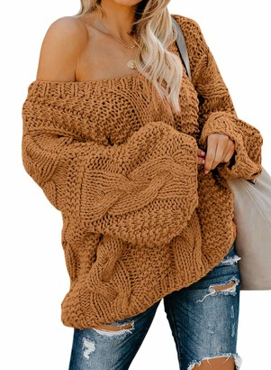 CORAFRITZ Sexy V Neck Cable Knit Sweater Loose Solid Color Long Sleeve Pullover Slouchy Backless Jumpers Tops Winter for Women Size 16 Brown