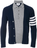 Thom Browne Trompe L'oeil Long Sleeve Polo In Navy Cashmere