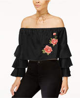 Say What Juniors' Embroidered Off-The-Shoulder Top