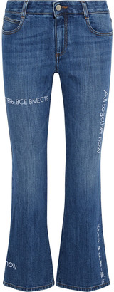 Stella McCartney + The Beatles The Skinny Kick Embroidered Mid-rise Kick-flare Jeans
