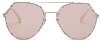 Fendi Ff Round Metal Sunglasses - Gold