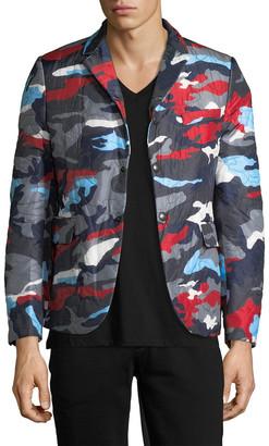 Moncler Camo Print Notch Lapel Jacket