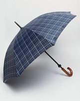 Fulton Walking Umbrella In Blue Check