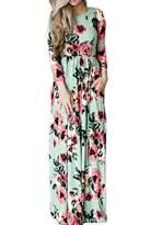 Yacun Women's Summer Long Sleeve Floral Boho Floor Length Maxi Dress