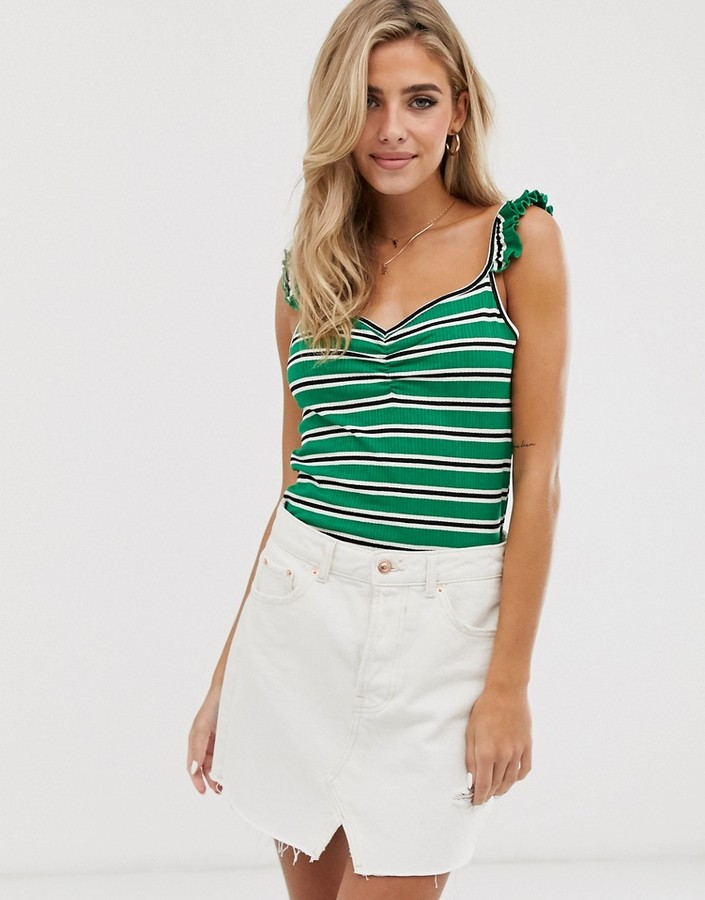 Pimkie jersey cami with frill detail in green stripe