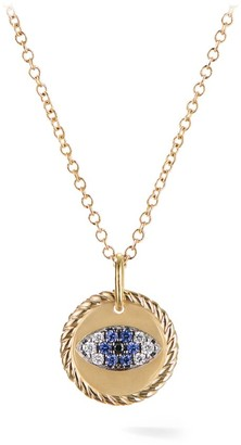 David Yurman Cable Collectibles Evil Eye Charm Necklace in 18K Gold with Diamonds