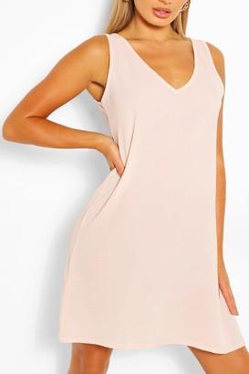 boohoo Woven V Neck Sleeveless Shift Dress