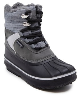 London Fog Little Boys Mixed Material Lace-Up Snow Boot