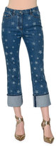 Valentino Star-Print Deep-Cuff Cropped Jeans, Light Blue Denim