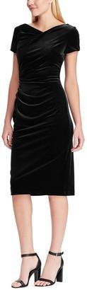 Chaps Women's Draped Velvet Sheath Dress