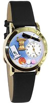 Whimsical Watches Women's C0610005 Classic Gold Pharmacist Black Leather And Goldtone Watch