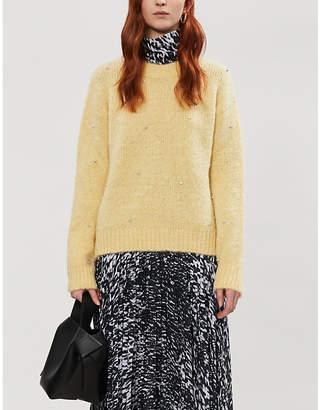 Sandro Jewel-embellished knitted jumper