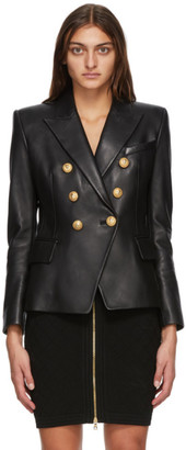 Balmain Black Leather Double-Breasted Jacket