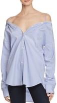 Theory Tamalee Dalton Stripe Cold-Shoulder Shirt