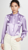 Spot Blouse With Ruffle At Collar & Cuff