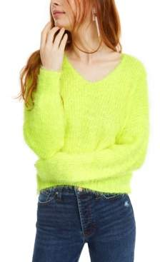 Freshman Juniors' Fuzzy V-Neck Sweater