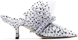 Midnight 00 white 55 tulle detail PVC-wrapped leather mules