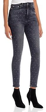 Alice + Olivia Good High-Rise Embellished Ankle Skinny Jeans in Black Magic