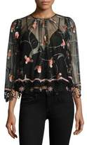 Alice McCall I'm A Believer Sheer Embroidered Floral Blouse
