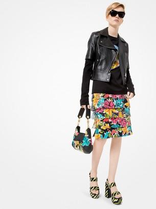 Michael Kors Floral Plonge Leather Fringe Skirt