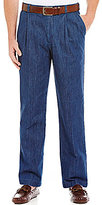 Roundtree & Yorke Pleated Inno-Flex Denim Pants