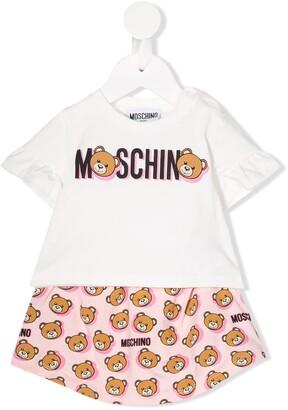 MOSCHINO BAMBINO Logo Short-Sleeve Two Piece Set