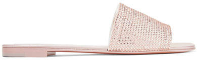 Giuseppe Zanotti Adelia Crystal-embellished Suede And Mirrored-leather Slides - Pink