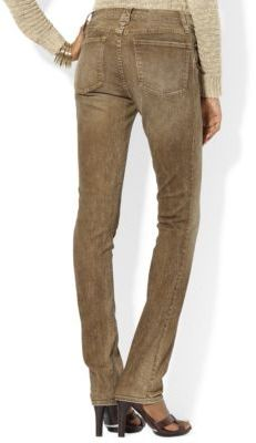 Lauren Ralph Lauren Leather-Trimmed Straight Jean