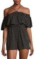 Lucca Couture Printed Off Shoulder Romper