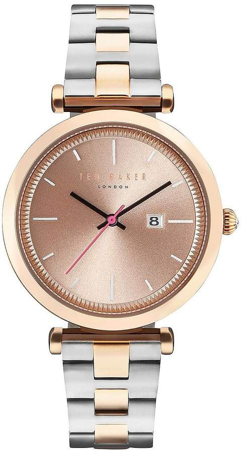 Ted Baker Sunray Dial Stainless Steel Two Tone Bracelet Ladies Watch