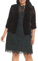 Eliza J Ruched Sleeve Velvet Blazer