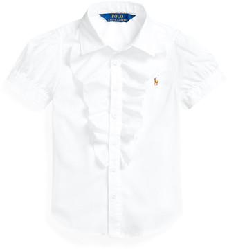 Ralph Lauren Ruffled-Trim Cotton Shirt