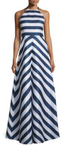 Shoshanna Halter-Neck Striped Two-Tone Gown, Navy/Optice