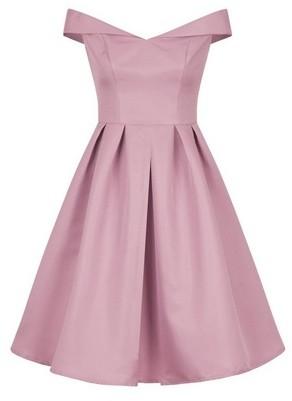 Dorothy Perkins Womens Chi Chi London Petite Pink Bardot Skater Dress, Pink