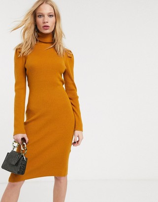 Object midi jumper dress with puff shoulder in rust-Brown