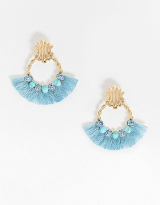 ASOS DESIGN earrings with vintage style stud and blue tassel wrap in gold tone